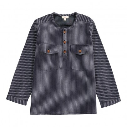 Zef Striped America Kurta Shirt with Wood Buttons-listing