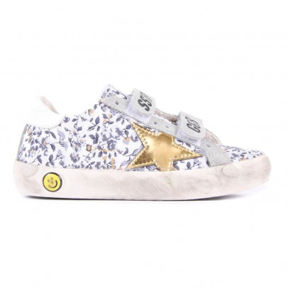 Golden Goose Old Superstar Flowered Velcro Leather Sneakers-product
