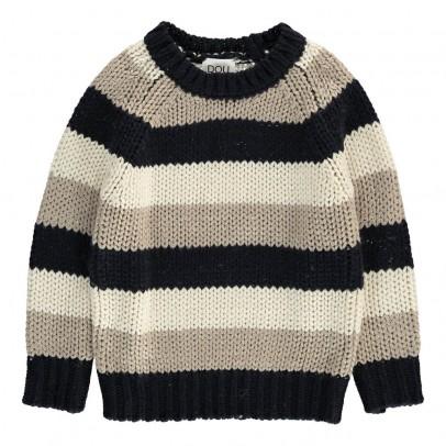 Douuod Three-Tone Striped Coyote Pullover-listing