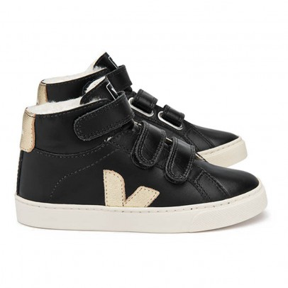 Veja Fur-lined Leather Velcro Esplar Mid High Top Trainers-product