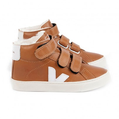 Veja Fur-lined Leather Velcro Esplar Mid High Top Trainers-listing