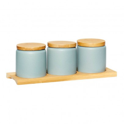 Hübsch Ceramic and wood canisters - Set of 3-listing