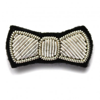 Macon & Lesquoy Cotton Embroidered Bow-Tie Brooch-listing