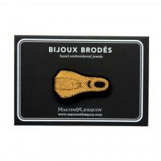 Macon & Lesquoy Goldene Palme-Brosche gestickt aus Baumwolle-listing