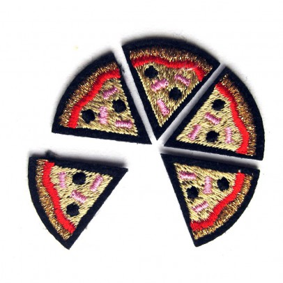 Macon & Lesquoy Set of 5 Embroidered Iron-On Pizza Slice Patches-listing