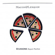 Macon & Lesquoy Lot de 5 Ecussons Thermocollables Brodés Parts de Pizza-listing