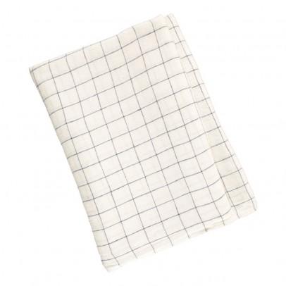 Linge Particulier Nappe en lin lavé Carreaux XL Blanc-Marine-product