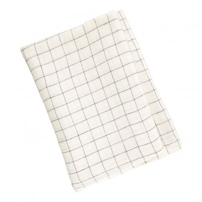 Linge Particulier White/Navy XL Checked Washed Linen Tablecloth-listing