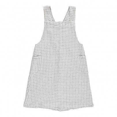 Linge Particulier Adult Cross back Black/White Checked Washed Linen Japanese Apron Dress-product