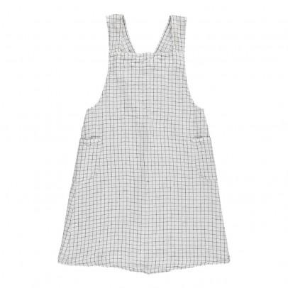 Linge Particulier Delantal japonés lino lavado Cuadros Blanco- Negro - espalda cruzada - adulto-listing