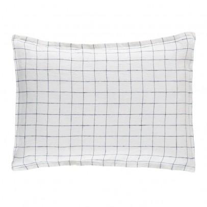 Linge Particulier Funda de cojín lino lavado Cuadros XL Blanco-Azul marino-product
