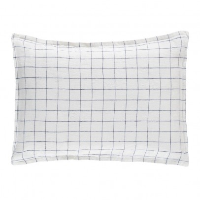 Linge Particulier White/Navy XL Checked Washed Linen Duvet Cover-product