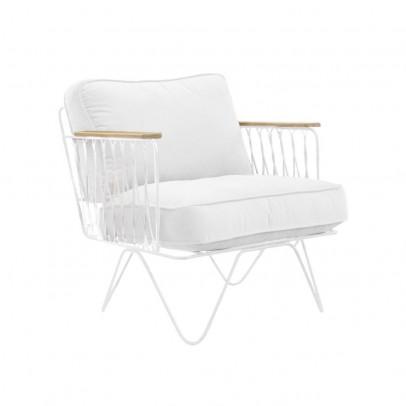 Honoré Fauteuil Croisette blanc, coton blanc-listing