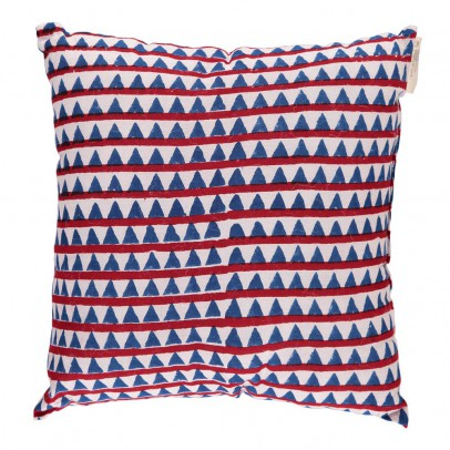 Le Petit Lucas du Tertre Coussin complet 30x30 cm Triangles - rouge et bleu-listing