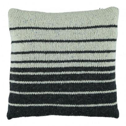 Kidscase Coussin en laine rayé noir et écru-listing
