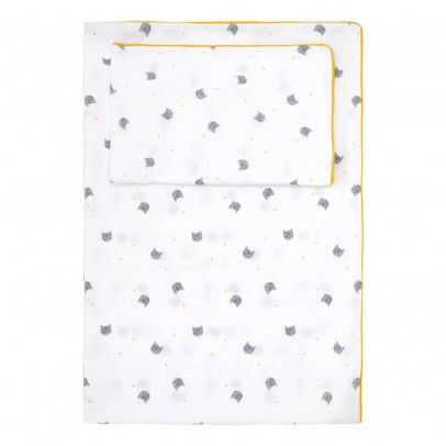 Rose in April Set of bed linen - Gray Cat and Yellow Polka-dots-product