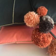 Smallable Home Coussin en coton garni plumes -  ganse lurex argent-listing