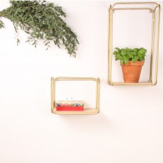 Honoré Scaffale tubo dorato e cedro-listing