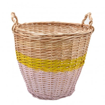 Rose in April Ratatouille Basket - Pale Pink and Yellow, 36 cm in diameter-listing
