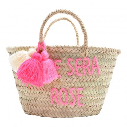 Rose in April Embroidered Pompom The Summer will be pink Basket-listing