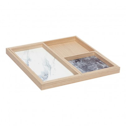 Hübsch Oak Tree Tray with Marble Impression - Set of 3-listing