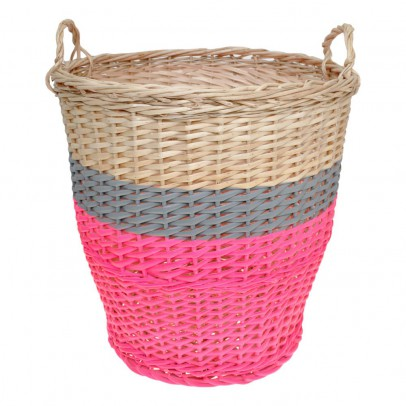 Rose in April Panier Ratatouille D42 cm - Rose fluo et gris-listing
