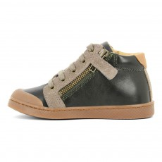 10 IS Suede Leather Lace-Up Zip Ten Twins Trainers-listing