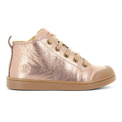 10 IS Iridescent Leather Lace-Up Zip-Up Ten Mid Trainers-listing