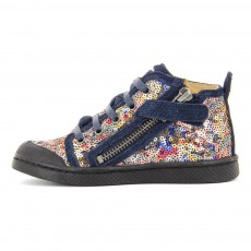 10 IS Leather Sequins Lace-Up Zip-Up Ten Bind Trainers-listing