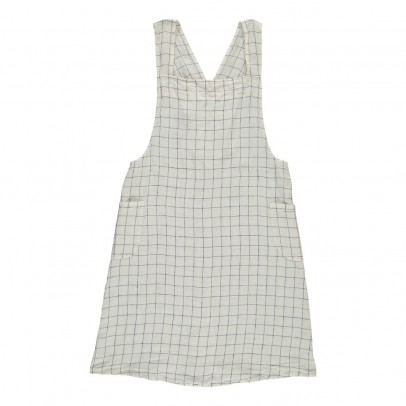 Linge Particulier Adult Cross back White/Navy XL Checked Washed Linen Japanese Apron Dress-product