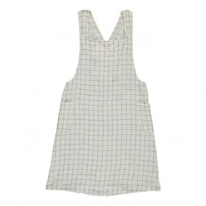 Linge Particulier Delantal japonés lino lavado Cuadros XL Blanco- Azul Marino - espalda cruzada - adulto-listing