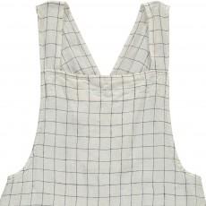 Linge Particulier Tablier japonais en lin lavé Carreaux XL Blanc-Marine - dos croisé - adulte-listing