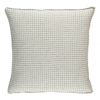 Linge Particulier Black/White Checked Washed Linen Pillowcase-listing