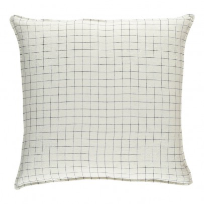 Linge Particulier White/Navy XL Checked Washed Linen Pillowcase-listing