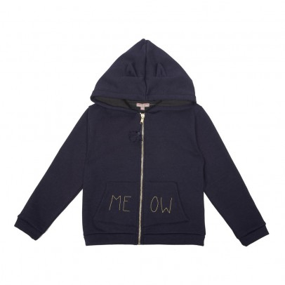 "Emile et Ida Soft Fur-Lined Zip-Up ""Meow"" Hooded Sweatshirt-listing"