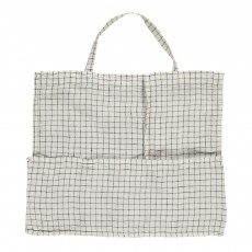 Linge Particulier Giant Black/White Checked Washed Linen Tote Bag-listing