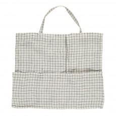 Linge Particulier Shopper in Lino Lavato a Quadri Bianco-Nero-listing