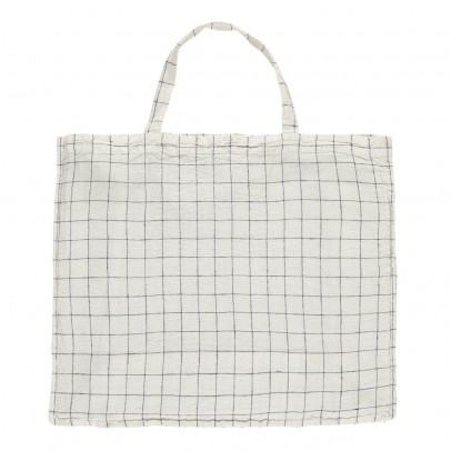Linge Particulier Giant White/Navy XL Checked Washed Linen Tote Bag-listing