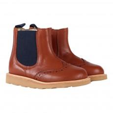 Young Soles Chelsea-Stiefel aus Leder mit Reißverschluss und geblümter Spitze Francis-listing