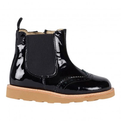 Young Soles Francis Floral Tipped Patent Leather Chelsea Boots with Zip-listing