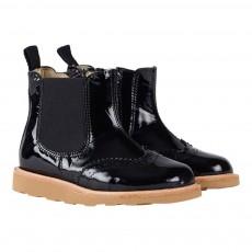 Young Soles Boots Chelsea Cuir Vernis Zippées Bout Fleuri Francis-listing