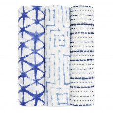 aden + anais  Bambou Ink Swaddling Cloth 120x120cm - Pack of 3-listing