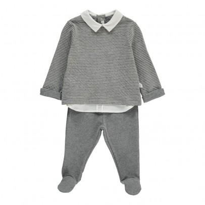 Il Gufo Sweat Rayé Col Chemise   Pantalon Pieds-listing