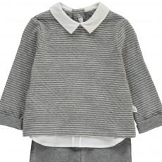 Il Gufo Striped Shirt Collar Sweatshirt   Trousers with Feet-listing