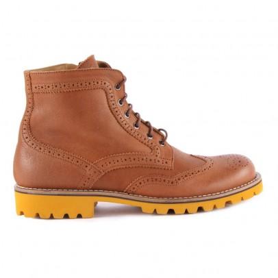 Gallucci Boots Lacets Cuir Zippées Semelle Jaune-listing