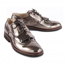 Gallucci Metallic Leather Derby Shoes with Fringe-listing