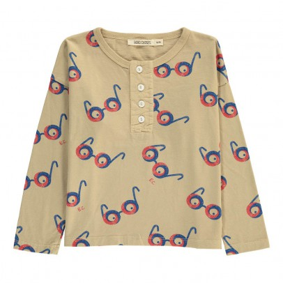 Bobo Choses Organic Cotton Glasses All Over Henley Neck T-Shirt-listing
