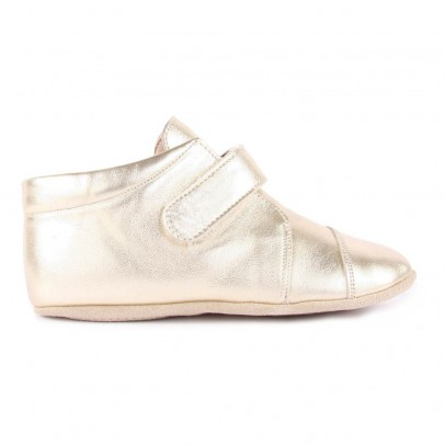 Petit Nord Velcro Iridescent Leather Slippers-listing
