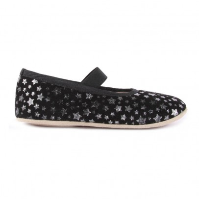 Petit Nord Elasticated Star Leather Ballerina Slippers-listing