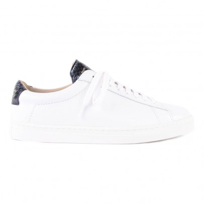 Zespà Night Blue Leather ZSP4 APLA Trainers with Snakeskin Detailing-listing